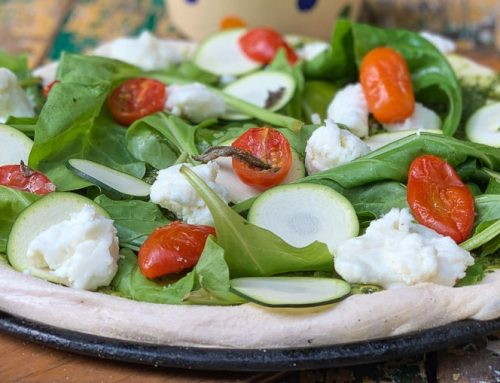 פיצה פסטו ירוקה עם שמן זית כתית מעולה